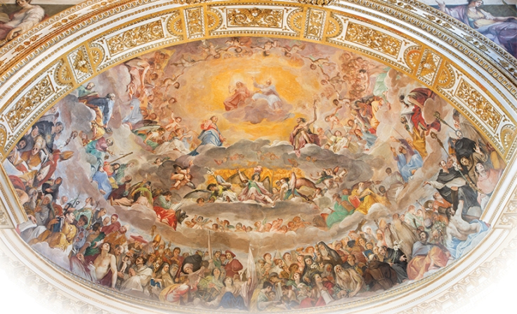 the glory of heaven by giovanni da san giovanni in the basilica di santi quattro coronati in rome